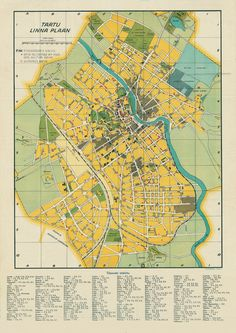 Tartu City plan dated 1941 with war damage overprint. Note the streets in square H9, these were never built. source Estonian National Archives via Wikimedia