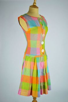This pretty dress is made of a pastel rainbow check fabric and features large faux button detail to the front. Now only in our sale! 1960s Dresses, Vintage Dresses, Vintage Outfits, Vintage Clothing, Dresser, Check Fabric, Large Buttons, Pastel, Summer Dresses