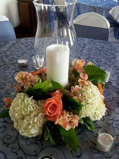 Hurricane centerpiece. Wedding centerpieces, Knoxville wedding, Knoxville florist, Always in Bloom