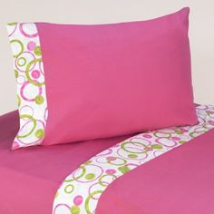 Sweet Jojo Designs Pink and Green Mod Circles Queen Sheet set is made to coordinate with their Full/Queen Bedding Sets. These sheets are Cotton and use hot pink with circles trim. They are machine washable for easy care. Twin Sheets, Twin Sheet Sets, Cotton Sheet Sets, Cotton Sheets, Cotton Fabric, Lime Green Bedding, Pink Bedding, Luxury Bedding, Bed Cover Design