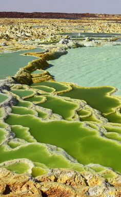 Acid lakes at the Dallol Volcano in Danakil Desert, Ethiopia | Unique in that lava does not flow from it.