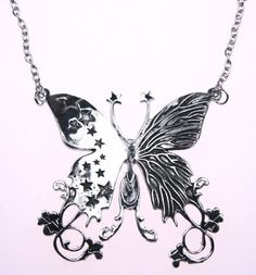 Large Butterfly Large Flower Star Silver Pendant Necklace