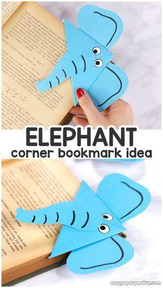 Elephant Corner Bookmark - Easy Peasy and Fun Origami For Kids Animals, Easy Origami For Kids, Animal Crafts For Kids, Paper Crafts For Kids, Crafts For Kids To Make, Animals For Kids, Origami Easy Step By Step, Preschool Crafts, Origami Bookmark Corner