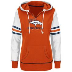 Women's Denver Broncos Majestic Orange Touchdown Obsession Pullover Hoodie