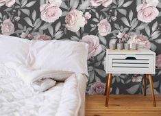 Baby Pink Roses on Gray Wallpaper Nursery Wallpaper, Grey Wallpaper, Vinyl Wallpaper, Print Wallpaper, Adhesive Wallpaper, Perfect Image, Perfect Photo, Free Prints, Wall Prints