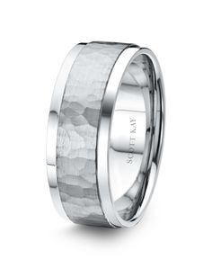 Men's Platinum 8mm Wedding Band with Hammered Satin Center & Bright Edges.  Also available in 18K & 14K