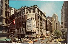 Herald Square New York City Postcard 1964 Macy's Street Avenue Of Americas 34 Street, Street View, Macy's Herald Square, The Bowery Boys, Architecture Mapping, Menlo Park, Famous Places, New York City, Nyc