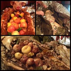 Evolution of a Kailua pig. We rub with spices & stuff the cavity with fruits & veggies then wrap on banana leaves and cook in the ground for 12 hours. Kailua Pig, Pig Roast, Banana Leaves, Fruits And Veggies, Luau, Stir Fry, Evolution, Fries, Pork