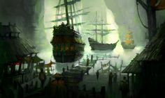 Pirate Hideout by Nele-Diel port docks boat landscape location environment architecture   Create your own roleplaying game material w/ RPG Bard: www.rpgbard.com   Writing inspiration for Dungeons and Dragons DND D&D Pathfinder PFRPG Warhammer 40k Star Wars Shadowrun Call of Cthulhu Lord of the Rings LoTR + d20 fantasy science fiction scifi horror design   Not Trusty Sword art: click artwork for source
