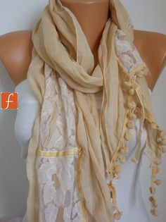 ON SALE - Pale Yellow Cotton Lace Scarf  Spring Scarf Shawl  Cowl Gift for Her Bridesmaid Gift Women's Fashion Accessories on Etsy, $22.50