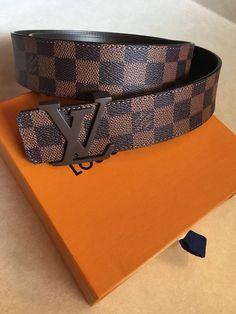 7dde9fb3aa71 Men s Louis Vuitton LV Damier Ebene Belt Size 95 38 Fits 32-36