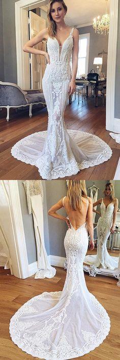 Wedding dresses, mermaid wedding gowns, chic backless wedding dresses
