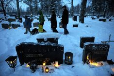 Finland: Lanterns of Remembrance, a Christmas Eve tradition.