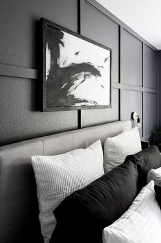 See how we transformed our boring master bedroom into a neutral monochrome modern bedroom with these simple black and white decor ideas and DIY projects! White Canvas Art, Abstract Canvas Art, Diy Canvas Art, Diy Wall Art, White Art, Acrylic Canvas, Diy Canvas Frame, Framing Canvas Art, Canvas Ideas