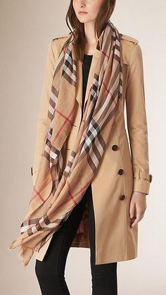 Checks camel Pañuelo de checks en lana y seda - Imagen 3