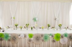 Head table decorated beautifully at the Three Bridges Banquet Hall.