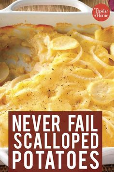 Never-Fail Scalloped Potatoes - These creamy homemade scalloped potatoes stick-. Never-Fail Scalloped Potatoes - These creamy homemade scalloped potatoes stick-to-the-ribs and are sure to be a favorite. Homemade Scalloped Potatoes, Scalloped Potato Recipes, Scallop Recipes, Scallop Potatoes, Easy Potato Recipes, Sliced Potatoes, Scalloped Potatoes With Cheese, Veggies, Eating Clean