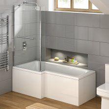 1500x850mm Left Hand L-Shaped Bath - 6mm Screen, Rail, Front & End Panels