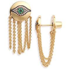 IAM by Ileana Makri 'Dawn' Chain Drop Earrings (14.705.455 VND) ❤ liked on Polyvore featuring jewelry, earrings, yellow gold, post drop earrings, loop earrings, chains jewelry, post earrings and chain earrings