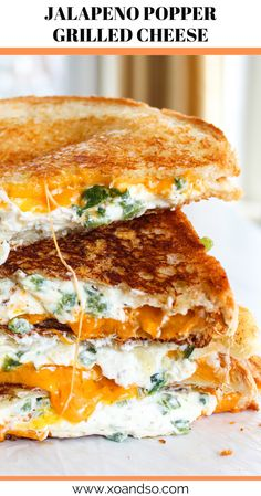 This jalapeno popper grilled cheese is creamy, crispy (thanks to the parmesan crust), and just the right amount of spicy all in one perfect package. # Food and Drink vegetarian Jalapeno Popper Grilled Cheese Sandwich Jalapeno Poppers, Jalepeno Popper Grilled Cheese, Vegetarian Comfort Food, Vegetarian Recipes, Going Vegetarian, Vegetarian Breakfast, Vegetarian Dinners, Vegetarian Cooking, Breakfast Recipes