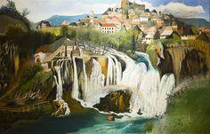 Tivador Kosztka Csontváry (Hungarian [Post-Impressionism, Expressionism] Waterfall at Jajce, A4 Poster, Poster Prints, Art Prints, Budapest, Russian Painting, Post Impressionism, Art Database, Vintage Artwork, Fantastic Art