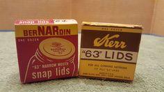 KERR LIDS BOX 63`` 6 LIDS - BERNARDIN NO 63 NARROW MOUTH SNAP LIDS CANNING JAR E #Kerr