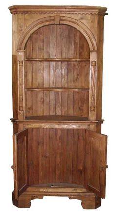 Corner wooden china cabinet