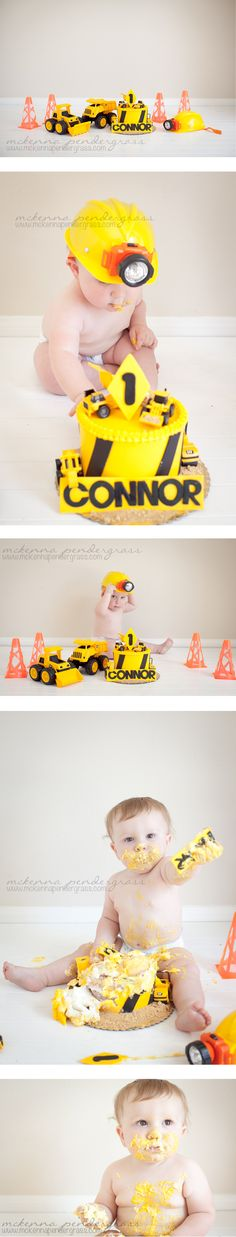 Construction themed first birthday cake smash photography >> McKenna Pendergrass Photography