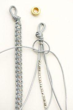 DIY Leather Macrame Bracelet by lebenslustiger # cute Braids diy Leder Armband DIY. Bracelet En Cuir Diy, Leather Bracelet Tutorial, Leather Tutorial, Macrame Bracelet Tutorial, Leather Jewelry, Leather Cord, Beaded Jewelry, Jewellery, Gold Jewelry