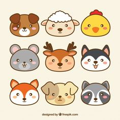 Cute collection of kawaii animals free vector kawaii drawings, animal faces Cute Easy Drawings, Cute Kawaii Drawings, Cute Animal Drawings, Doodle Art, Griffonnages Kawaii, Doodles Kawaii, Tier Doodles, Animal Doodles, Animal Faces