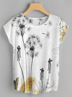 Shop Dandelion Print Dolman Sleeve Tee at ROMWE, discover more fashion styles online. Diy Fashion, Ideias Fashion, Fashion Outfits, Womens Fashion, Stylish Outfits, Painted Clothes, Batwing Sleeve, Printed Tees, Printed Sweatshirts