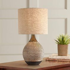 Emma Mid Century Modern Accent Table Lamp Brown Ceramic Drum Shade for Living Room Bedroom Bedside Nightstand Office Family - 360 Lighting Contemporary Table Lamps, Modern Table, Mid-century Modern, Modern Lounge, Modern Design, Cool Diy, Brown Table Lamps, Mid Century Modern Lamps, House Lamp