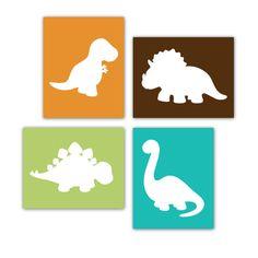 Dinosaur Prints Set of 4 Modern Art Prints for Nursery or Kids Bedroom Wall Decor Size 8x10