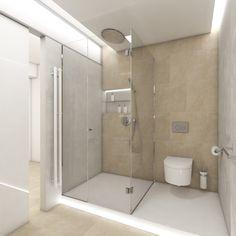 Moderní koupelna HALO - Pohled od umyvadla ke vstupu