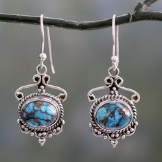 Novica Handcrafted 'Oceans of Love' Composite Turquoise Earrings