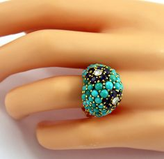 Sapphire Turquoise Diamond Gold Floral Motif Ring | From a unique collection of vintage more rings at https://www.1stdibs.com/jewelry/rings/more-rings/
