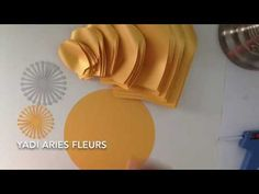 Paper flower and fluffy center with template 25. - YouTube
