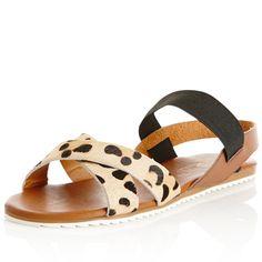 Brazil Elastic Strap Sandal in ANIMAL/TAN