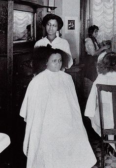 African American beauty parlor. Vintage postcard by Photomatika