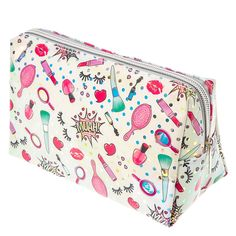 """<P>What better way to store and organize your makeup then with this bag covered with makeup. The white triangular shaped cosmetic case has a festive print that includes holographic polka dots, nail polishes, hair brushes, hearts, eyelashes, lipsticks, cosmetic brushes, and the word """"muah!"""" written comic book style.</P><UL><LI>Vinyl<LI>Zip top closure<LI>8""""L x 5 1/4&a..."""