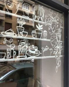 Shop window or wall decor – Slowgarden / Design Terrasses et Jardins – Typical Miracle Cafe Window, Window Art, Window Decals, Window Display Design, Wall Design, Decoration Vitrine, Garden Cafe, Window Signs, Retro Home Decor