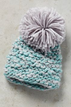 Anthropologie chunky knit hat with huge pom pom - love this for snow days!