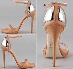 strappy chrome heels