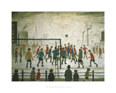 size: Framed Art Print: The Football Match by Laurence Stephen Lowry : Our professional designers have pre-selected this frame and mat combination to complement your art print. Each piece is hand-framed by framing experts right here in the USA. Soccer Art, Football Art, Football Match, Framed Art Prints, Poster Prints, Spencer, English Artists, Exhibition Poster, Cool Posters