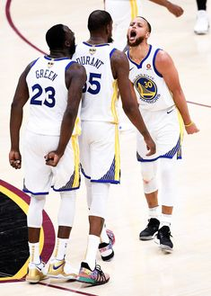 Draymond Green, Kevin Durant and Stephen Curry