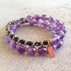Healing and Soothing, Amethyst and Onyx 27 bead wrap mala bracelet – Lovepray jewelry