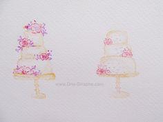 Watercolor pencils - Wip- Cakes - Logo Design #logo #logodesign #cake #cupcake #bakery #draw #paint #etsy #bakers Cupcake Bakery, Watercolor Pencils, Logo Design, Draw, Cakes, Logos, Painting, Etsy, Food Cakes