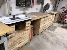 Workshop drawers and benches
