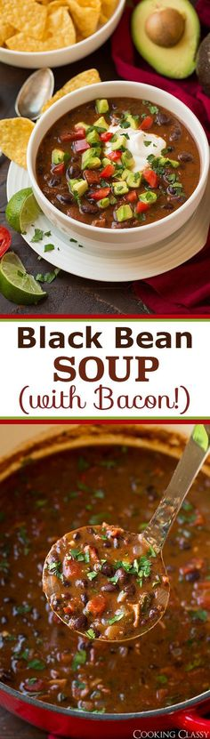 Black Bean Soup - you would think black bean soup was boring but with the addition of bacon and avocado this is anything but! We've made this twice in the last week!