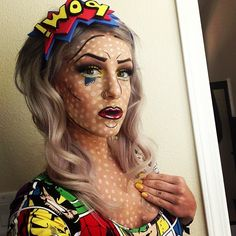 Pop Art Comic Makeup - LEGIT. #Halloween #Costume #PopArt #MakeupArtist #BrittanyPendleton